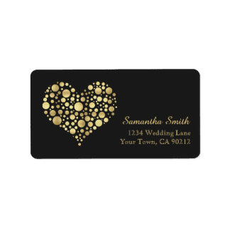 Elegant Gold Heart on Dusty Black Address Label