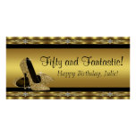 Elegant Gold High Heel Birthday Party Banner Posters