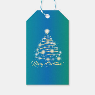 Elegant Gold Holiday Festive Merry Christmas Tree Gift Tags