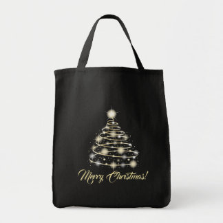 Elegant Gold Holiday Festive Merry Christmas Tree Tote Bag