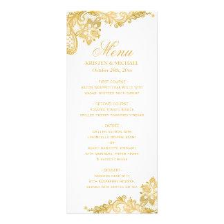 Elegant Gold Lace Pattern Wedding Menu Personalised Rack Card