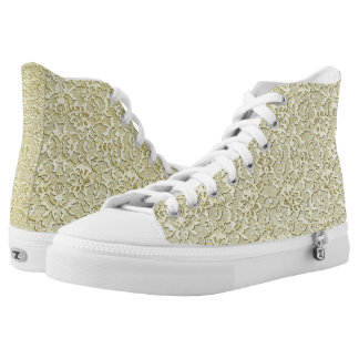 Elegant Gold Lace Print High Tops