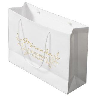 Elegant Gold Laurels Personalized Bridesmaids Large Gift Bag