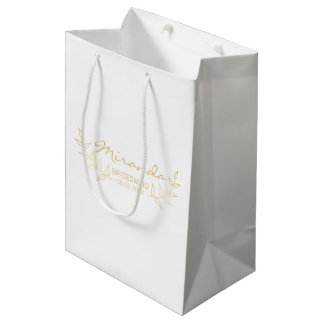 Elegant Gold Laurels Personalized Bridesmaids Medium Gift Bag