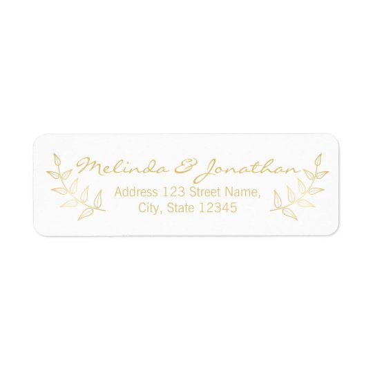 Elegant Gold Laurels Wedding Return Address Label