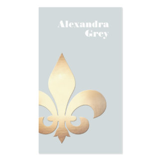 Elegant Gold Leaf Fleur de Lis Light Grey Pack Of Standard Business Cards