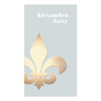 Elegant Gold Leaf Fleur de Lis Light Grey Pack Of Standard Business Cards