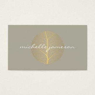 Elegant Gold Leaf Logo on Tan Business Card