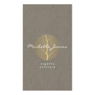 Elegant Gold Leaf Logo on Tan Cardboard Look Pack Of Standard Business Cards