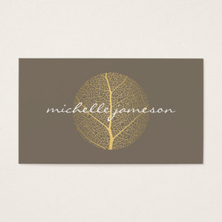 Elegant Gold Leaf Logo on Taupe
