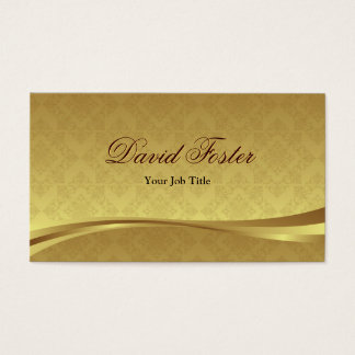 Elegant Gold Leaf Look with Luxury Damask Business Card