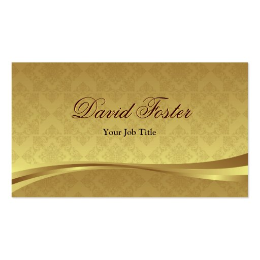 Elegant Gold Leaf Look with Luxury Damask Business Card Template