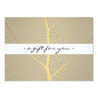 ELEGANT GOLD LEAF TREE PATTERN Gift Certificate 11 Cm X 16 Cm Invitation Card