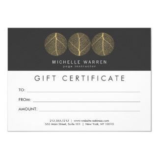 Elegant Gold Leaf Trio Logo Gift Certificate 11 Cm X 16 Cm Invitation Card