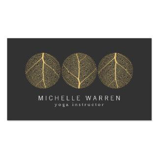 Elegant Gold Leaf Trio Logo on Dark Gray Pack Of Standard Business Cards