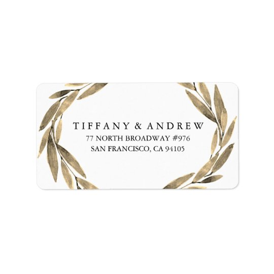Elegant Gold Leaf Wreath Wedding Address Label