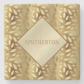 Elegant Gold Leaves Monogram Coaster