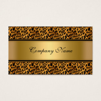 Elegant Gold Leopard Animal Print Business Card