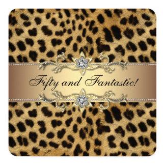 Elegant Gold Leopard Birthday Party Card