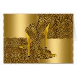 Elegant Gold Leopard High Heel Shoes Animal Greeting Cards