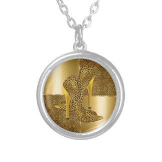 Elegant Gold Leopard High Heel Shoes Animal Jewelry