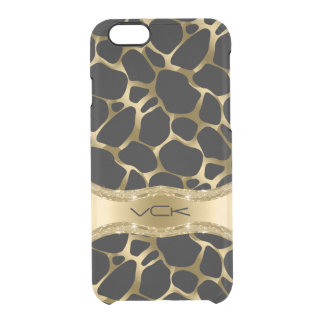 Elegant Gold Leopard Print On Black Clear iPhone 6/6S Case