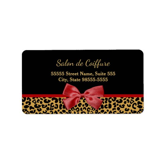 Elegant Gold Leopard Print With Red Bow Hair Salon Address Label