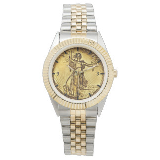 Elegant Gold Liberty Coin Wrist Watches