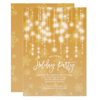 Elegant Gold Light Holiday Party Invitation