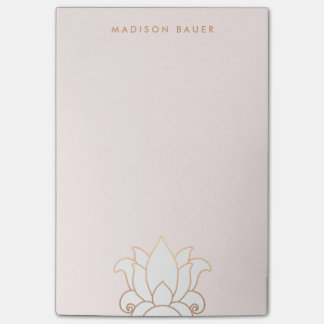Elegant Gold Lined Pink Lotus Flower Post-it Notes