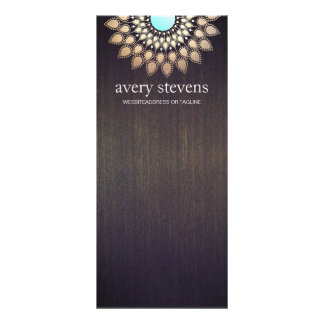 Elegant Gold Lotus Floral Motif Stylish Wood Rack Card Design