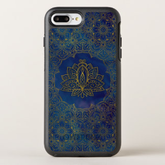 Elegant  Gold Lotus flower on blue OtterBox Symmetry iPhone 8 Plus/7 Plus Case