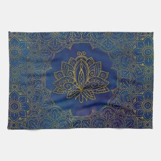 Elegant  Gold Lotus flower on blue Tea Towel