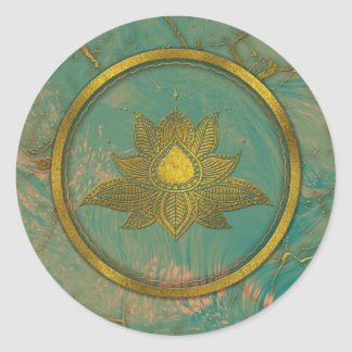 Elegant  Gold Lotus flower on marble Classic Round Sticker