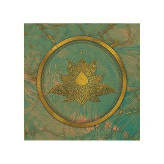 Elegant  Gold Lotus flower on marble Wood Print