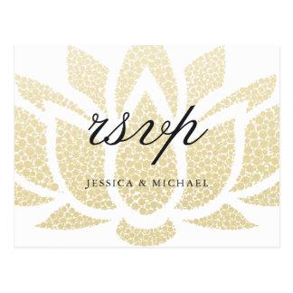 Elegant Gold Lotus Flower Wedding RSVP Postcard