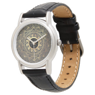 Elegant gold mandala artwork watch
