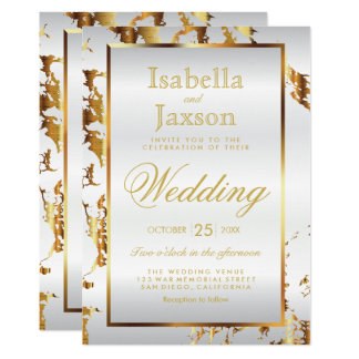Elegant Gold Marble and White Satin Invitation