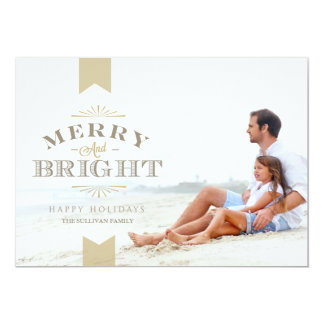 """Elegant Gold Merry and Bright Holiday Photo Card 5"""" X 7"""" Invitation Card"""