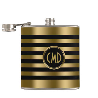 Elegant Gold Metallic Stripes Black background Flask