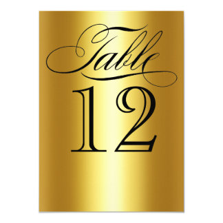 Elegant Gold Metallic Table Number Glam Bling 11 Cm X 16 Cm Invitation Card