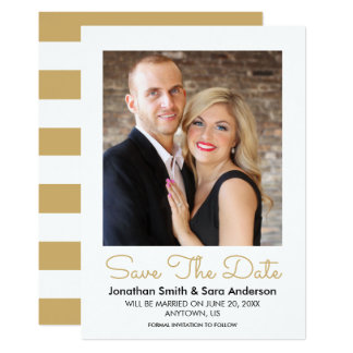 Elegant Gold Minimal Save The Date Photo Card