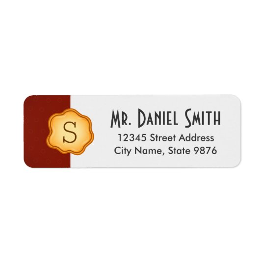 Elegant -Gold Monogram- on Regal Red Return Address Label