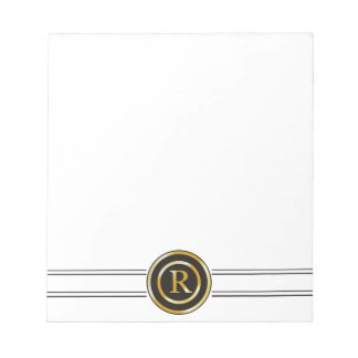 Elegant Gold Monogram R Notepad
