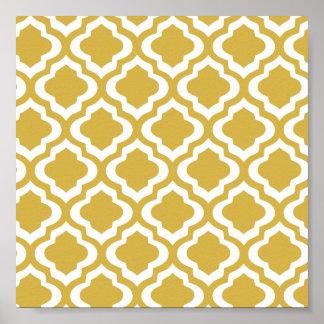 Elegant Gold Mustard Moroccan Quatrefoil Clover Poster