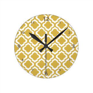 Elegant Gold Mustard Moroccan Quatrefoil Clover Round Clock