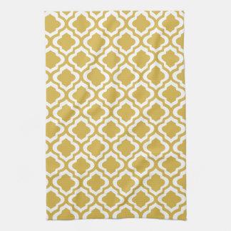 Elegant Gold Mustard Moroccan Quatrefoil Clover Tea Towel