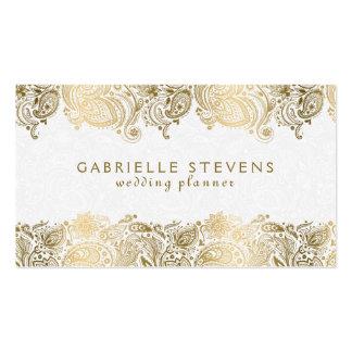 Elegant Gold On White Paisley Wedding Planner Pack Of Standard Business Cards