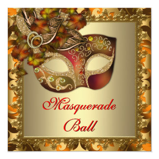Elegant Gold Orange Red Masquerade Party Card