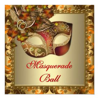 Elegant Gold Orange Red Masquerade Party 13 Cm X 13 Cm Square Invitation Card